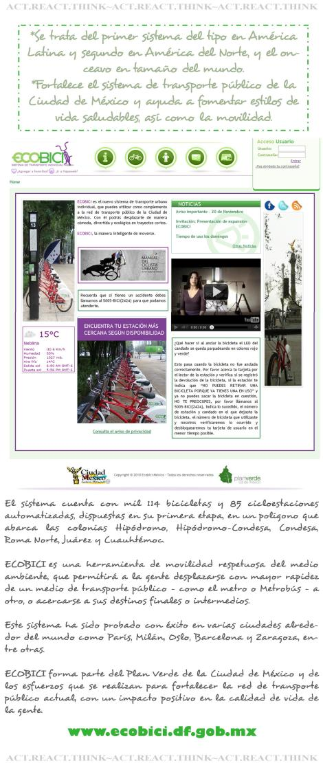 collage by ME with pics and info from www.ecobici.df.gob.mx