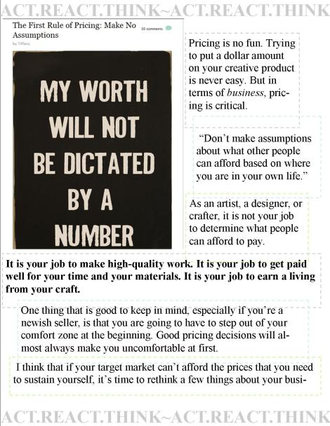 QUOTES from The First Rule of Pricing: Make No Assumptions by Tiffany VIA papernstitch the blog!